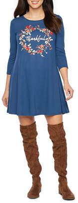 ST. JOHN'S BAY 3/4 Sleeve Fall Themed Swing Dresses