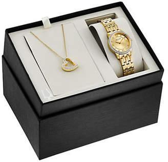 Bulova Goldtone Crystal Necklace and Watch Two-Piece Set
