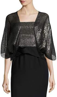 Armani Collezioni Metallic 3/4-Sleeve Evening Bolero, Black $325 thestylecure.com