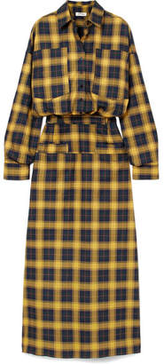 Tartan Cotton Shirt Dress - Yellow