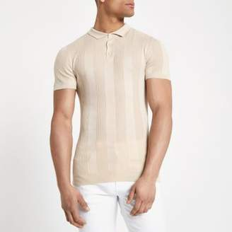 River Island Mens Stone rib muscle fit short sleeve polo shirt