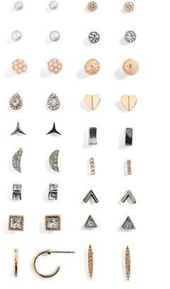 BP 18-Pack Imitation Pearl & Crystal Stud Earrings