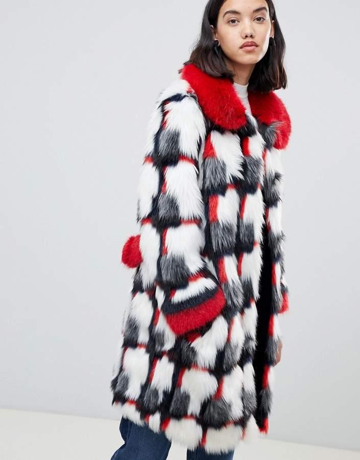 Urbancode printed patchwork faux fur coat