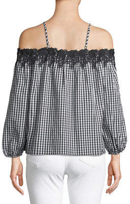 Romeo & Juliet Couture Lace-Trim Cold-Shoulder Gingham Blouse