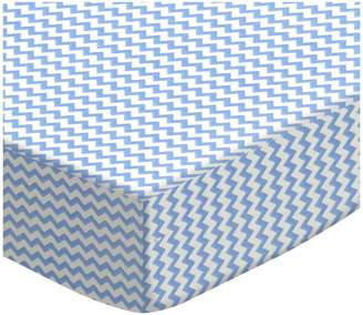 Graco SheetWorld Fitted Pack N Play Sheet - Mini Blue Chevron Zigzag - Made In USA - 27 inches x 39 inches (68.6 cm x 99.1 cm)