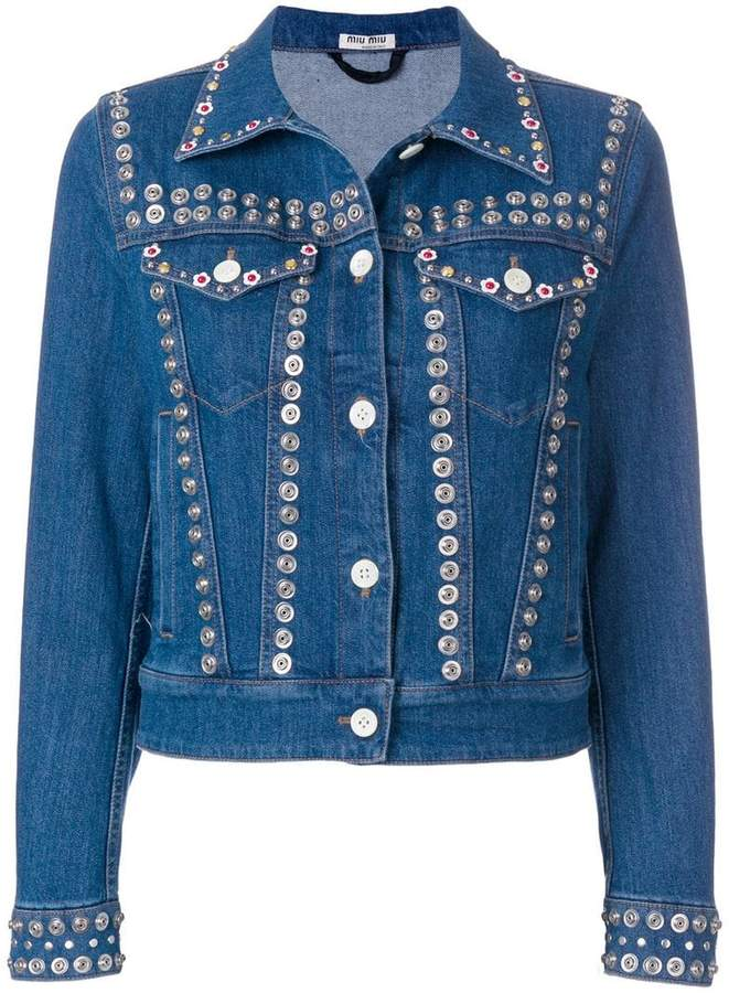 snap button embellished jacket