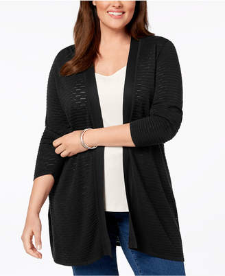 Charter Club Plus Size Open-Front Ribbed-Knit Cardigan