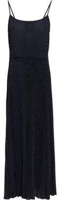 Vince Plisse Polka-dot Crepe Midi Dress