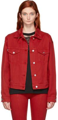 MSGM Red Embroidered Denim Jacket