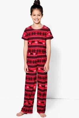 boohoo Girls Fairisle Nightwear Set
