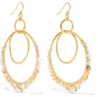 Chan Luu Gold-plated Agate, Mother-of-pearl And Crystal Earrings