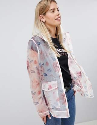 Asos Design DESIGN Floral Rainwear Jacket