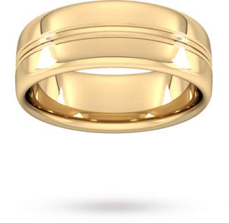 8mm Slight Court Heavy Grooved polished finish Wedding Ring in 18 Carat Yellow Gold