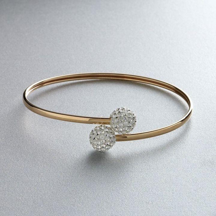 Gold 'n' ice 14k gold crystal bypass bangle bracelet - made with swarovski elements