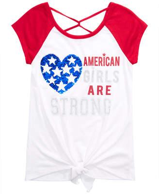 a98e46f23b47 Beautees Big Girls Cross-Back Tie-Front Reversible Sequin T-Shirt