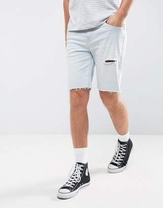 Asos DESIGN Denim Shorts In Slim Blue With Thigh Rip And Turn Up Raw Hem