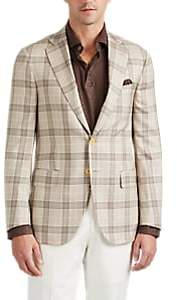 Isaia Men's Delain Plaid Worsted Wool-Silk Two-Button Sportcoat - Beige, Khaki