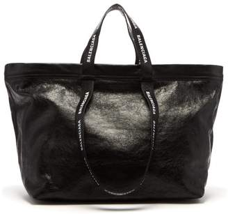 Balenciaga Carry Shopper M Leather Bag - Mens - Black White