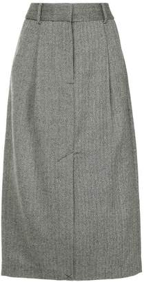 Tibi herringbone pleated pencil skirt