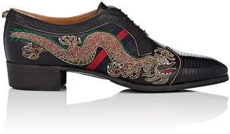 Gucci Men's Embroidered Leather & Lizard Bluchers