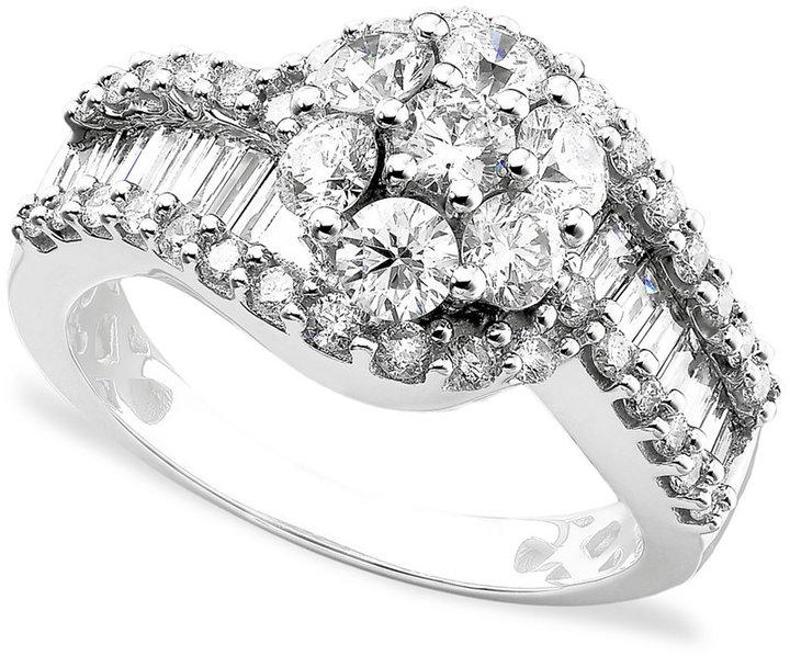 14k White Gold Ring, Diamond Cluster (2 ct. t.w.)