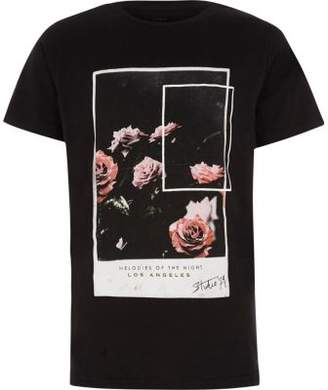 River Island Boys black rose photographic T-shirt