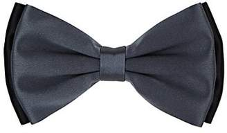 Barneys New York Men's Double-Layer Silk Satin Bow Tie - Charcoal