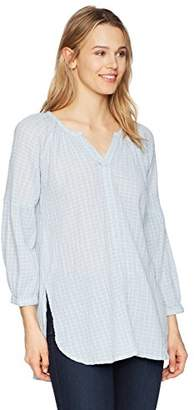 Michael Stars Women's Gingham Gauze Split Neck Raglan Tunic