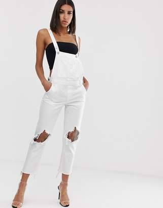Blank NYC Lightbox White ripped denim dungarees
