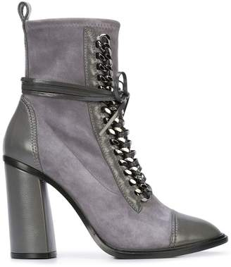 Casadei chain trim lace-up boots