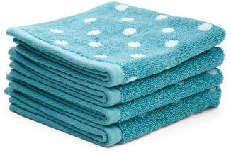 4pk Of Polka Dot Wash Towels