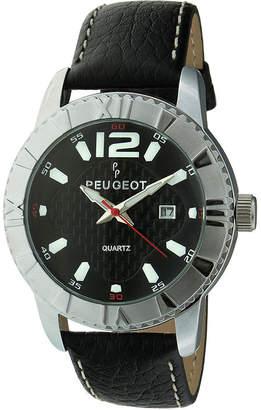 Peugeot Men's Sport Bezel Black Leather Strap Watch