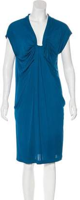 David Szeto V-Neck Midi Dress
