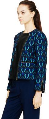 Club Monaco Aubrey Jacquard Leather Jacket