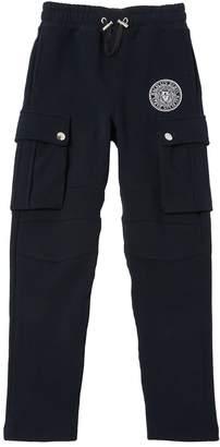 Balmain Logo Crest Cotton Cargo Sweatpants