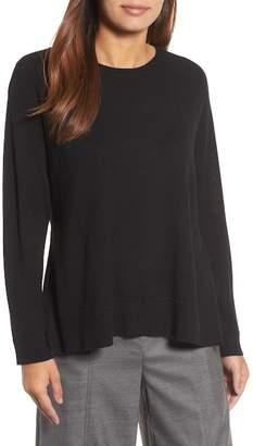 Eileen Fisher Side Slit Merino Wool Sweater