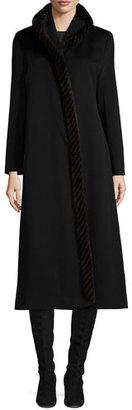 Fleurette Long Wool Coat w/ Mink Fur, Black $2,495 thestylecure.com