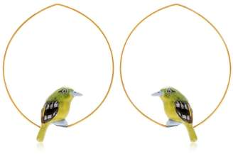 Nach Green Bird Hoop Earrings