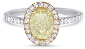 Alberto Oval Yellow Diamond Halo Ring