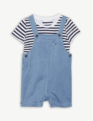 Tommy Hilfiger Striped cotton dungarees set 6-36 months