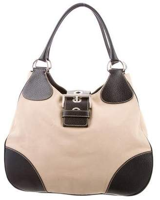 Prada Leather-Trimmed Canapa Tote