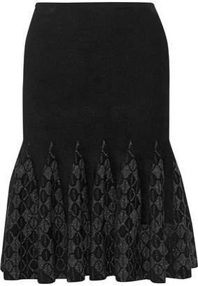 Roland Mouret Nunwick Ruffled Metallic Terry-Jacquard Skirt
