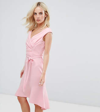 City Goddess Petite Wrap Front Peplum Midi Dress