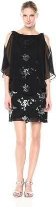 Sandra Darren Women's 1 PC Sleeveless Chiffon Overlay Sequin Sheath Dress