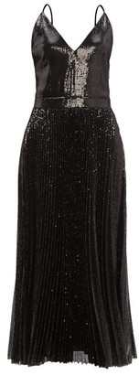 MSGM Pleated Sequinned Dress - Womens - Black