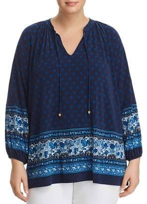 MICHAEL Michael Kors Batik Border Print Peasant Top