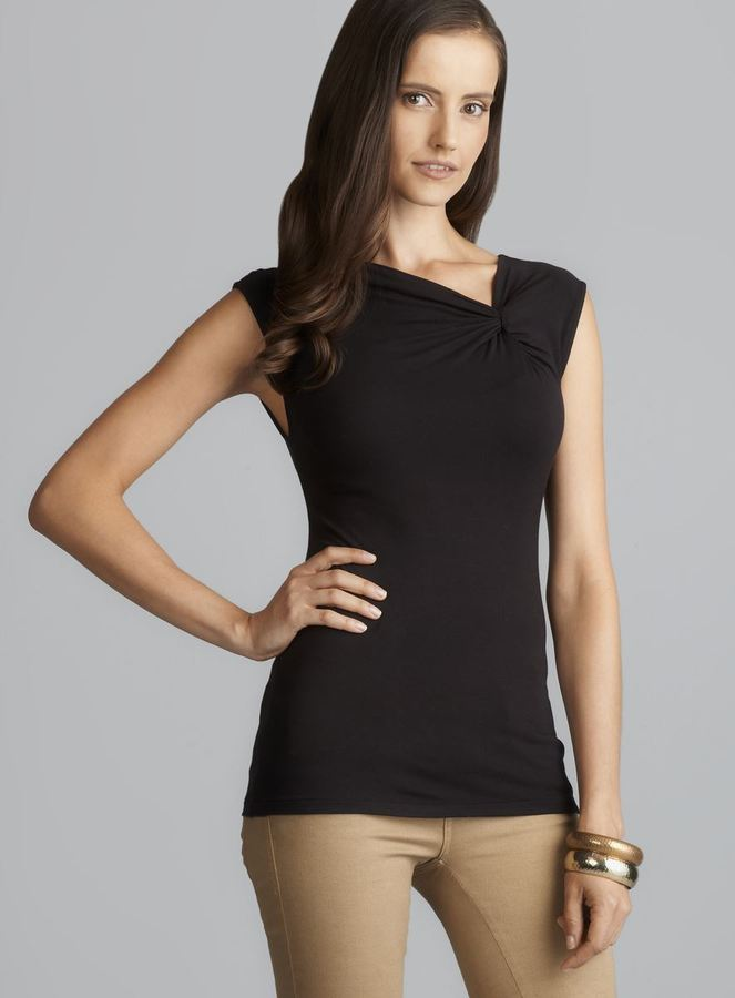 Tahari Sleeveless Asymmetrical Knotted Neckline Top