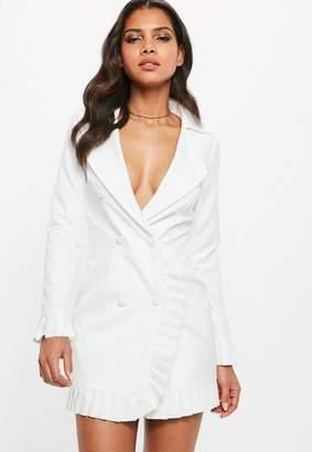 Missguided Cream Frill Detail Blazer Shift Mini Dress