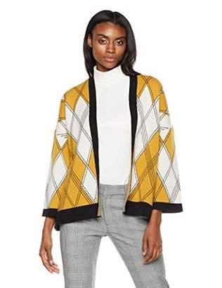 Native Star Fantastic Geometric Design Women's Rayon/Polyester/Nylon 3/4 Sleeve 3 Colors Jacquard Cardigan Sweater
