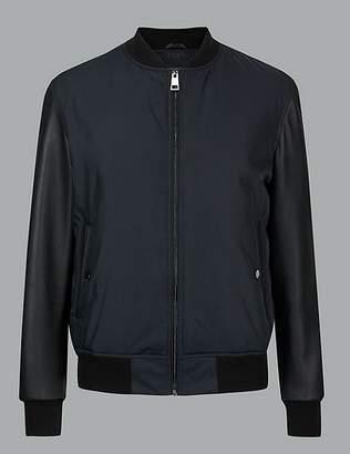 Marks and Spencer Leather Sleeve Bomber Jacket